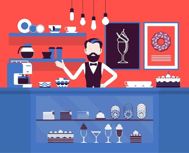 Loja de confeitaria, loja de doces sortidos, homem vende alimentos açucarados. vendedor de boas-vindas, vitrine com saborosa padaria, bolos, confeitaria. ideia de pequena empresa. ilustração vetorial, personagens sem rosto