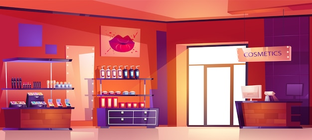 Loja de cosméticos com produtos para maquiagem, cuidados com a pele e perfumes nas prateleiras. interior de desenho animado de loja de beleza com caixa no balcão, vitrines com frascos de loção, produtos para a pele e batons
