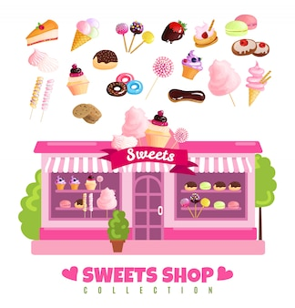 Loja de doces coleção de doces