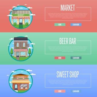 Loja de doces, mercado e cerveja bar banner conjunto