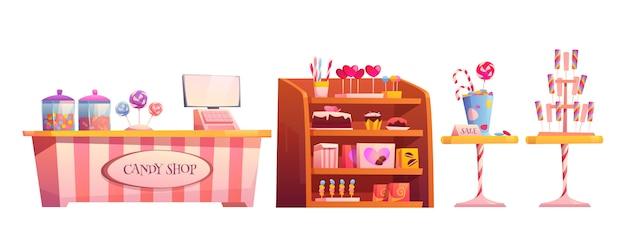 Loja de doces vazio interior com vários bolos