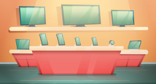 Loja de eletrônicos de desenhos animados com computadores e telefones, ilustração vetorial