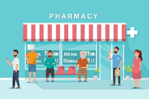 Loja de farmácia com cliente na cidade