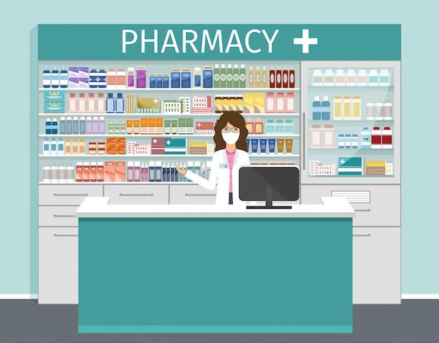 Loja de farmácia com farmacêutico em máscara médica. ilustração.