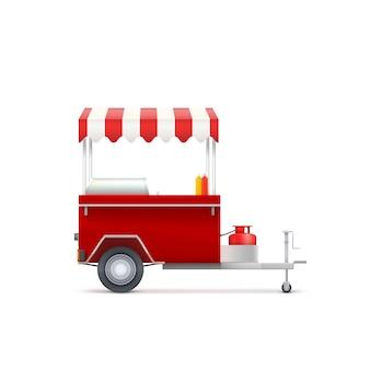 Loja de fast food móvel, isolada no fundo branco.