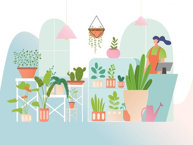 Loja de flores com plantas de casa, vendedor de mulher na loja floral, coleção de hortaliças em estilo simples, ilustração