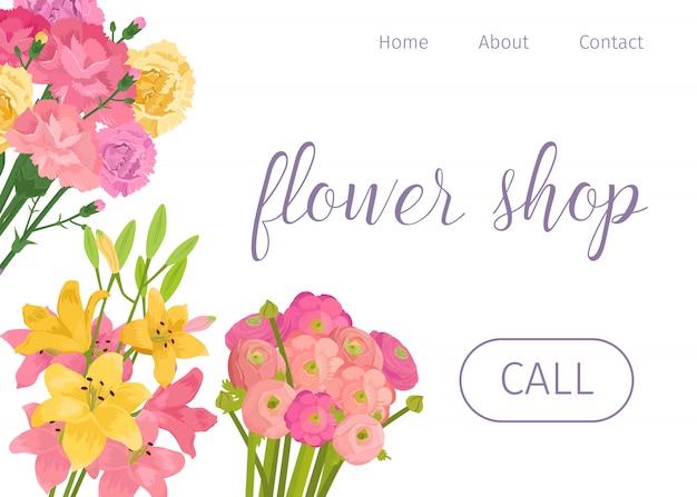 Loja de flores de primavera. floristas armazenam página da web com concurso de decoração floral rosa e amarela.