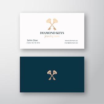 Loja de joias com chaves de diamante. sinal, símbolo ou logotipo abstrato e cartão de visita