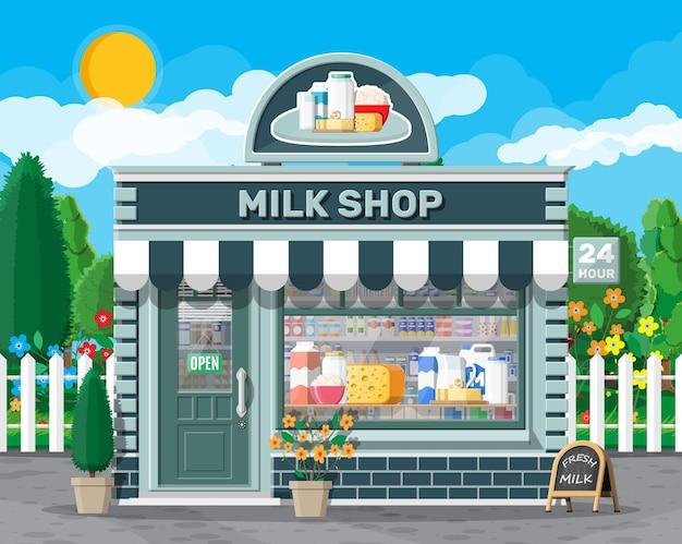 Loja de laticínios ou loja de leite com quadro indicador, toldo. fachada de loja com montra. loja do agricultor, balcão de vitrine. leite, queijo, iogurte, manteiga, creme azedo. panorama da natureza ao ar livre. ilustração vetorial plana
