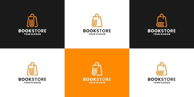 Loja de livros. livro abstrato com loja de bolsas combina coleção de design de logotipo
