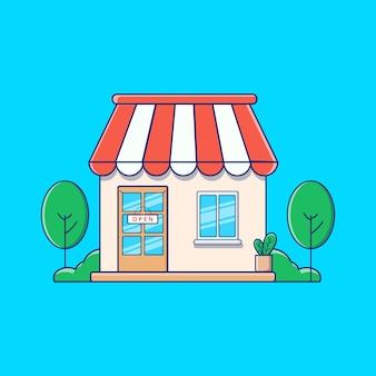 Loja de loja descolada com ilustração plana de plantas