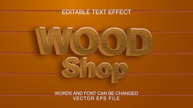 Loja de madeira, fonte editável, efeito de texto de textura de madeira.