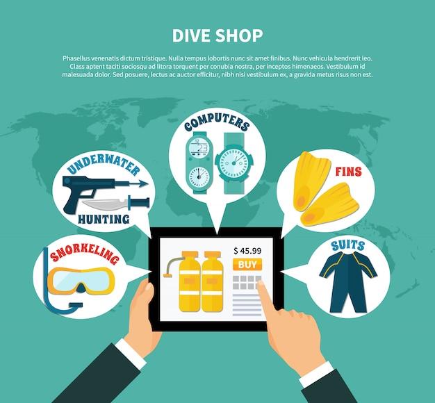 Loja de mergulho comprando composição on-line