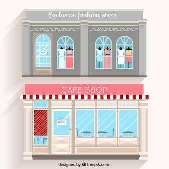 Loja de moda e café fachadas em design plano