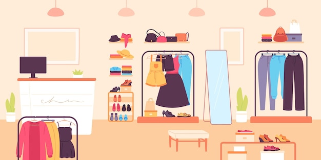 Loja de moda. loja de varejo de roupas para mulheres com vestidos, sapatos e bolsas. quarto boutique com balcão e roupas na prateleira, interior do vetor. loja de varejo, loja com ilustração de roupas