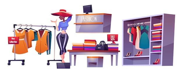 Loja de moda, manequim de coisas interiores de loja de pano
