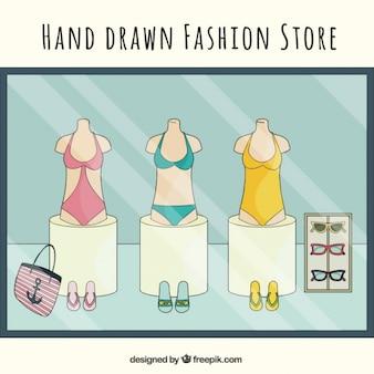 Loja de moda verão, desenhado mão