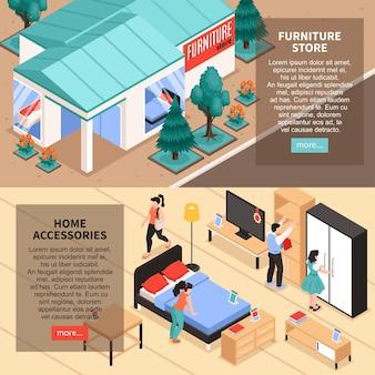 Loja de móveis fora e dentro de banners isométricos com pessoas escolhendo acessórios para casa