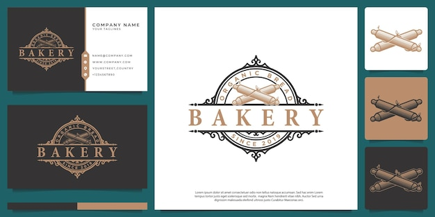 Loja de padaria com logotipo vintage victorian