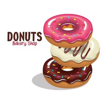 Loja de padaria deliciosos donuts