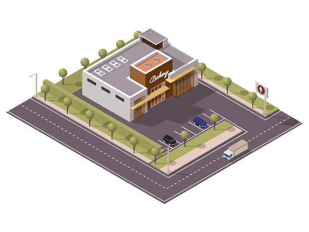 Loja de padaria isométrica com estacionamento ao longo da rua de transporte