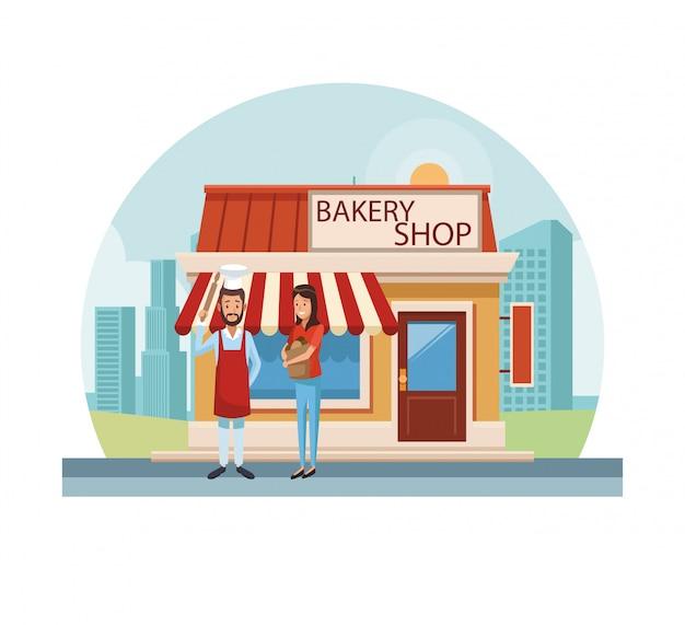 Loja de padaria na cidade