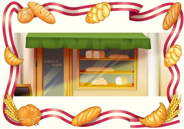 Loja de padaria, padaria e vetor de moldura de fita