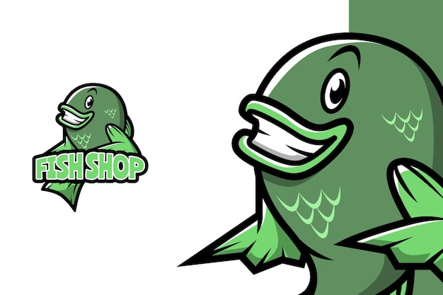 Loja de peixes - modelo de logotipo de mascote