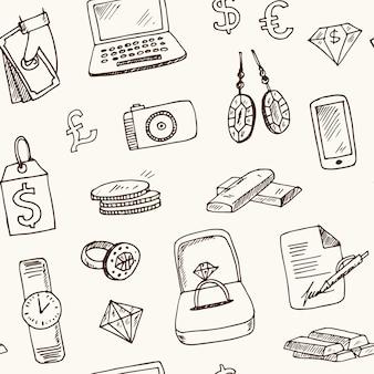 Loja de penhores padrão sem emenda de doodle desenhado à mão