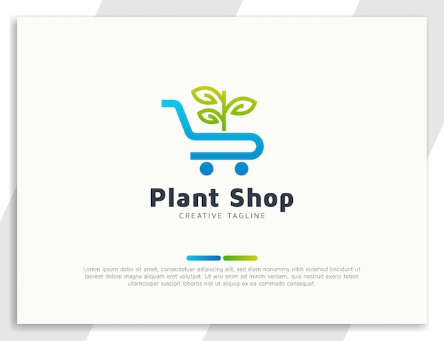 Loja de plantas ou logotipo da loja com folhas e conceito de carrinho
