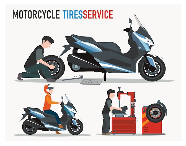 Loja de pneus de moto plana projetada