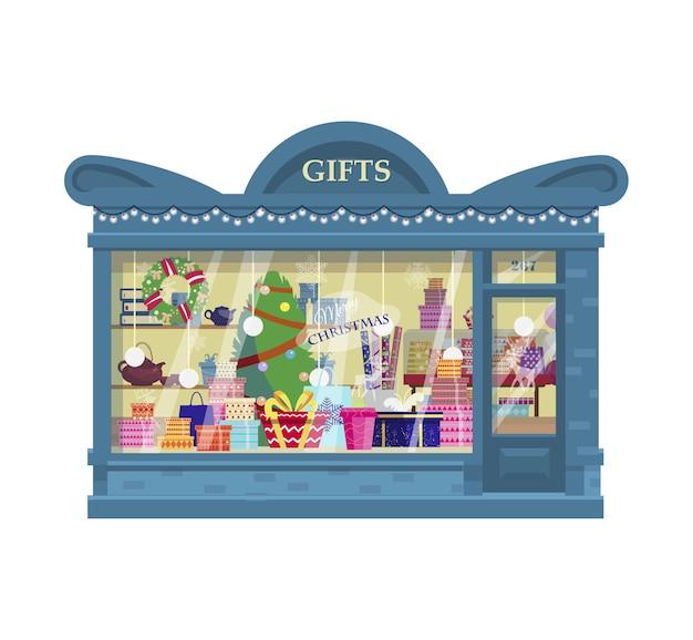 Loja de presentes com caixas de presentes com rolos de papel de embrulho exterior da loja de balões de presentes de natal