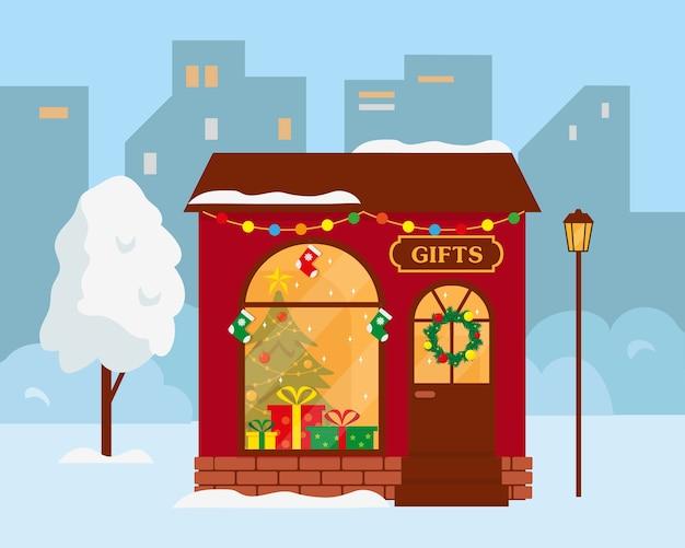 Loja de presentes ou exterior do prédio da loja de natal