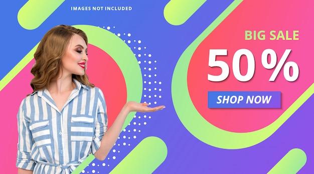 Loja de promoção de moda banner gradiente moderno modelo de plano de fundo