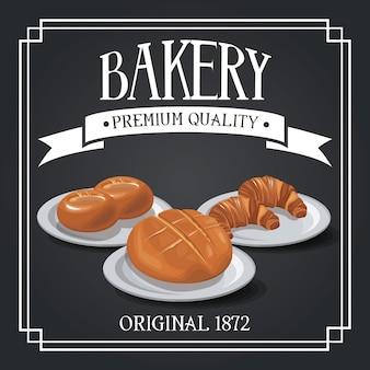 Loja de qualidade premium de padaria, pão de centeio e trigo, banner decorativo de fita de cereal