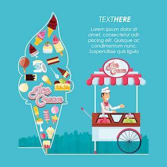 Loja de quiosque de sorvete com homem de vendas e ícones