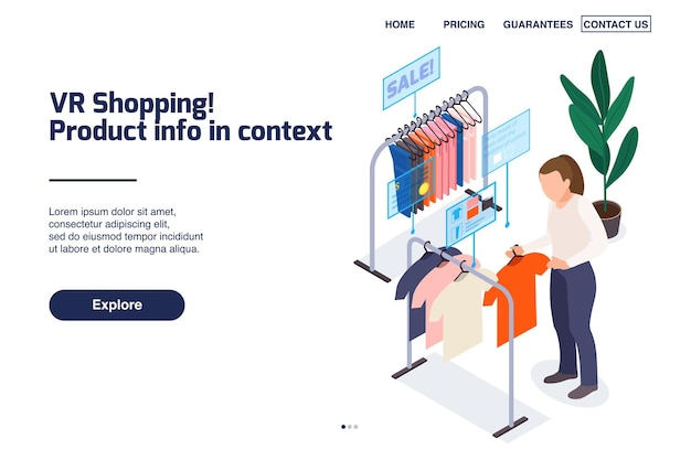 Loja de roupas moderna isométrica para a página de destino do site