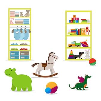 Loja de roupas para crianças e brinquedos