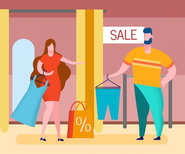 Loja de roupas venda cartoon ilustração em vetor