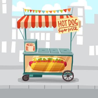 Loja de rua de cachorros-quentes