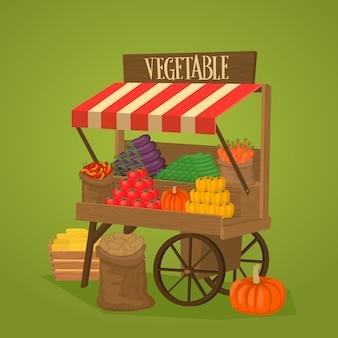 Loja de rua sobre rodas com legumes e frutas