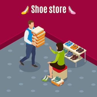 Loja de sapatos com mulher durante a escolha
