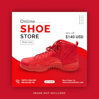Loja de sapatos on-line instagram banner anúncio modelo de postagem em mídia social