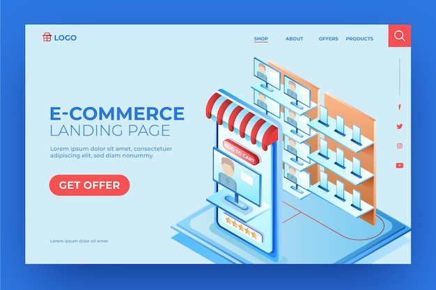 Loja de tecnologia de página de destino de comércio eletrônico isométrica