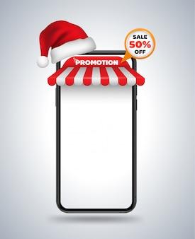 Loja de telhado de maquete de smartphone e chapéu de natal