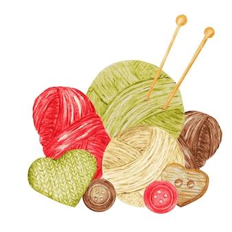 Loja de tricô, composição de agulhas, fios, botão. para artesanato de malha, passatempo