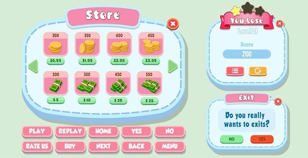 Loja de ui de jogo casual cartoon, você perde e sai do menu pop-up com botões de estrelas