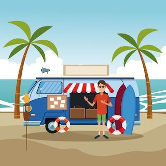 Loja de van retrô na praia
