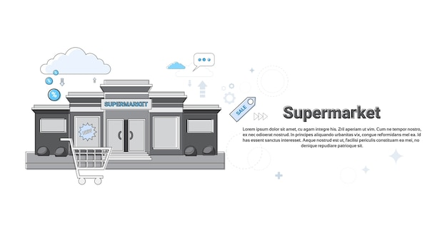 Loja de varejo de supermercado online compras comércio web banner ilustração vetorial