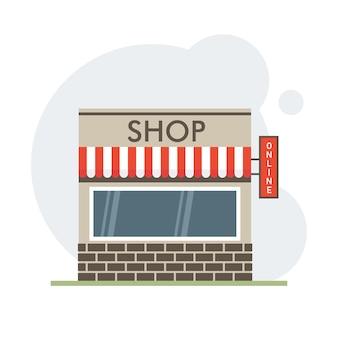 Loja de vetor ou fachada externa frontal de loja de mercado, ilustração vetorial no fundo do espaço sity.